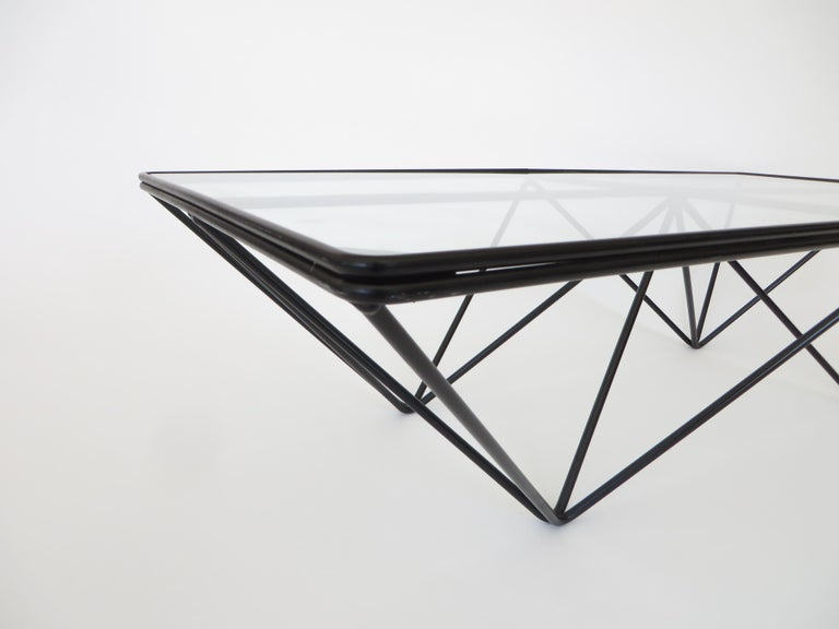 Black Steel and Glass Coffee Table in The Style of Paolo Piva Alanda Table  For Sale 4