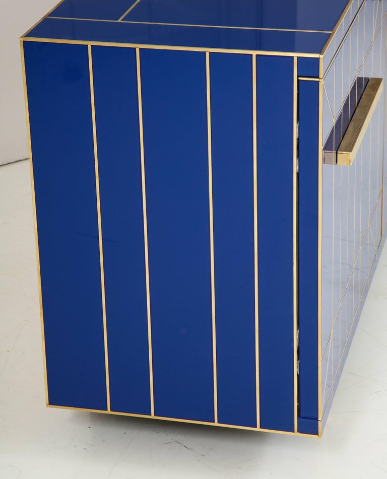 Cobalt Blue Glass with Brass Inlay Mirrored Sideboard, Spain, Signed 3