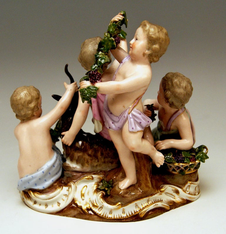 Meissen Four Seasons Figurines by Kaendler, circa 1850 For Sale 3