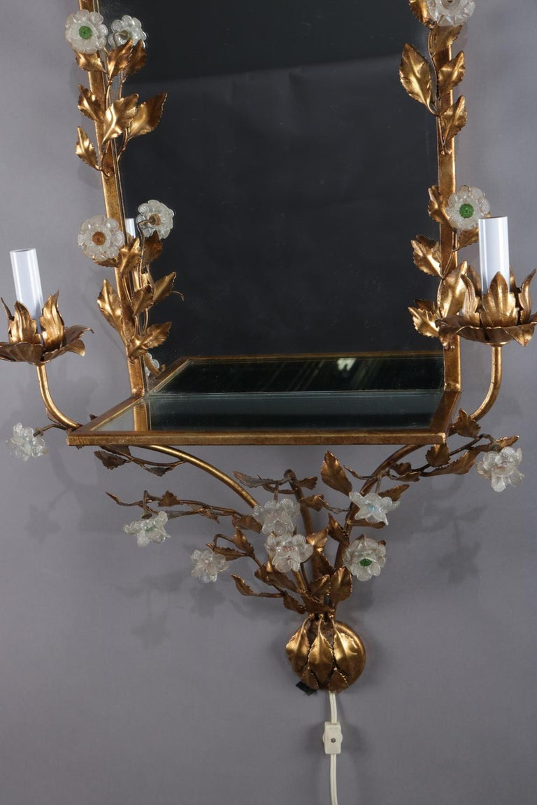 Vintage Italian Gilt Foliate & Crystal Double Candle Light Sconce Display For Sale 5