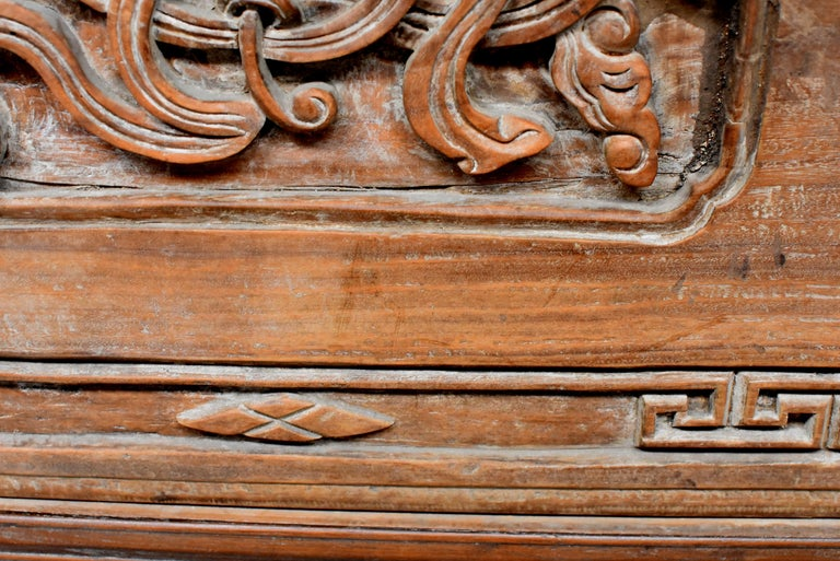 Chinese Antique Solid Wood Carved Plaque with a Rose For Sale 6