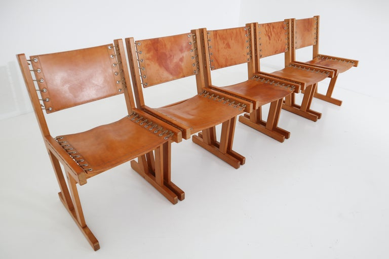 Midcentury Safari Chairs in Thick Cognac Saddle Leather and Solid Pine Wood For Sale 5