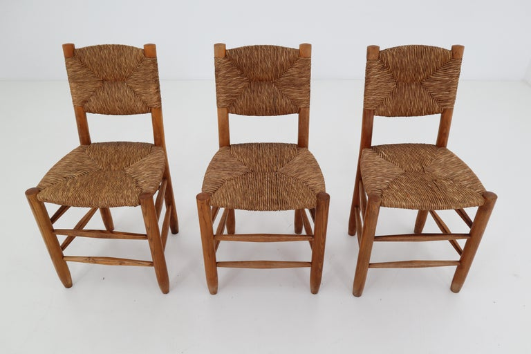 "Three ""Bauche"" Chairs by Charlotte Perriand for Steph Simon, France 1950s For Sale 5"