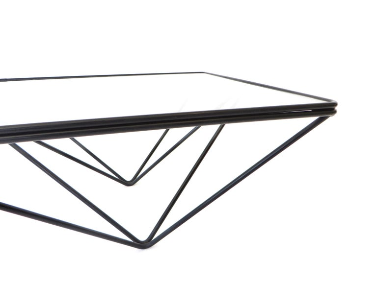 Black Steel and Glass Coffee Table in The Style of Paolo Piva Alanda Table  For Sale 6