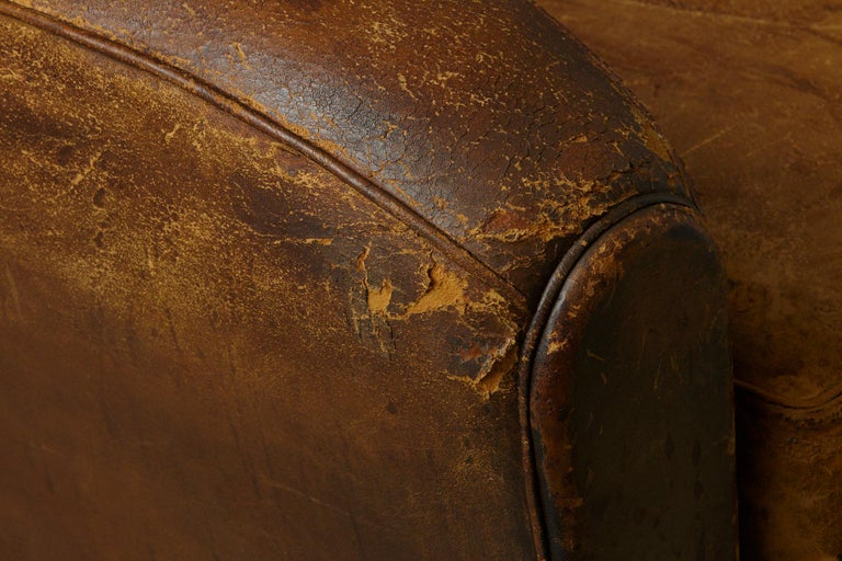 Pair of Large Distressed French Leather Fauteuils or Club Chairs, circa 1930s For Sale 8
