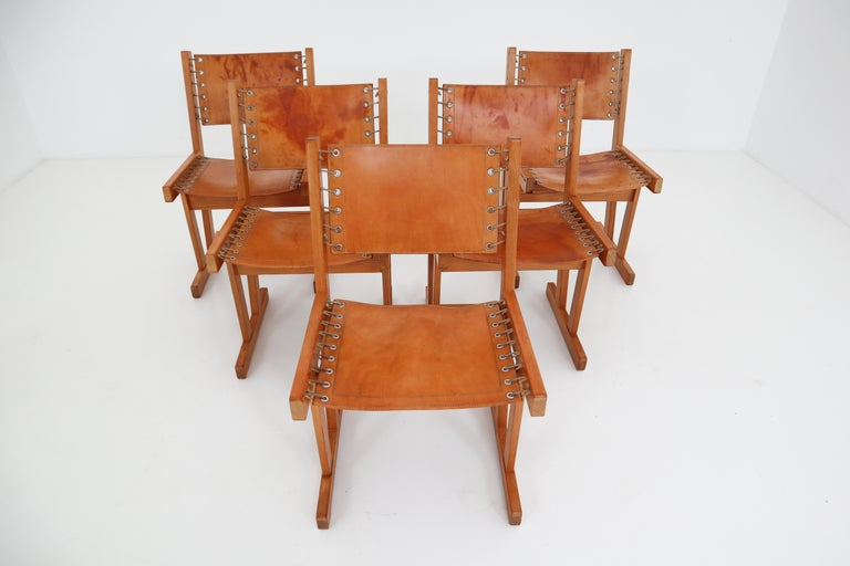 Midcentury Safari Chairs in Thick Cognac Saddle Leather and Solid Pine Wood For Sale 8