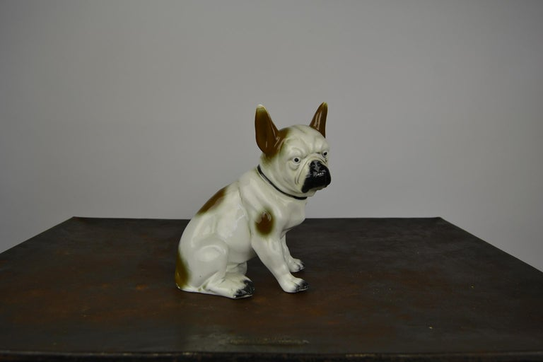 Art Deco Sitzendorf Porcelain French Bulldog Figurine For Sale 9