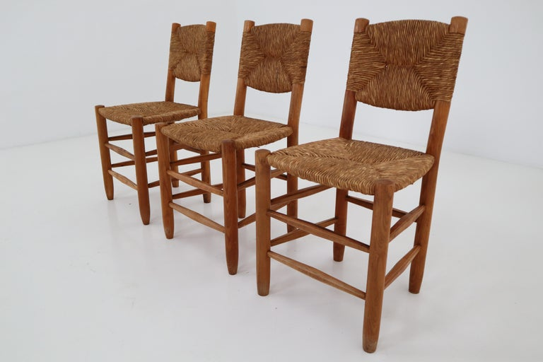 "Three ""Bauche"" Chairs by Charlotte Perriand for Steph Simon, France 1950s For Sale 8"