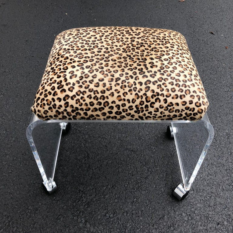 Mid-Century Modern Waterfall Lucite Stool or Bench with Faux Cheetah Fabric For Sale 9
