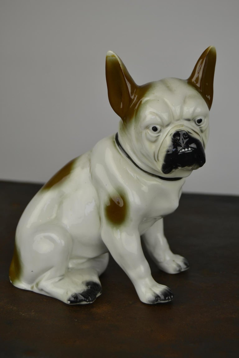 Art Deco Sitzendorf Porcelain French Bulldog Figurine For Sale 10