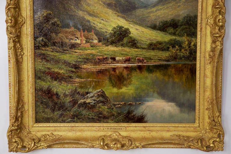 Henry Parker Oil Landscape Painting of Shepherd's Cottage For Sale 9