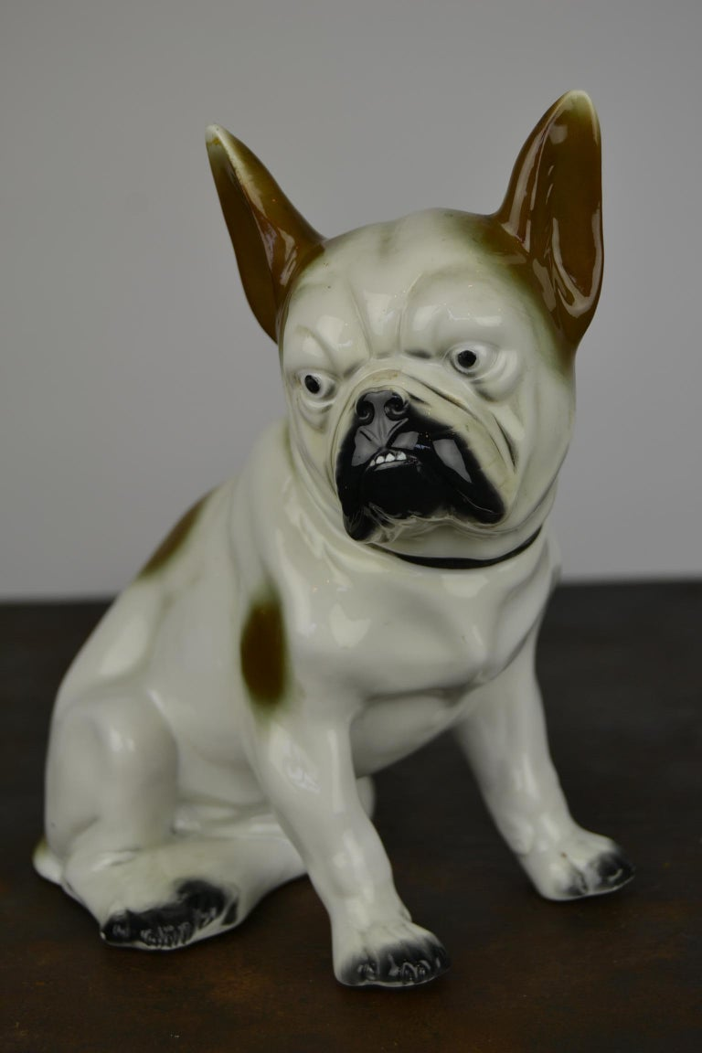 Art Deco Sitzendorf Porcelain French Bulldog Figurine For Sale 11
