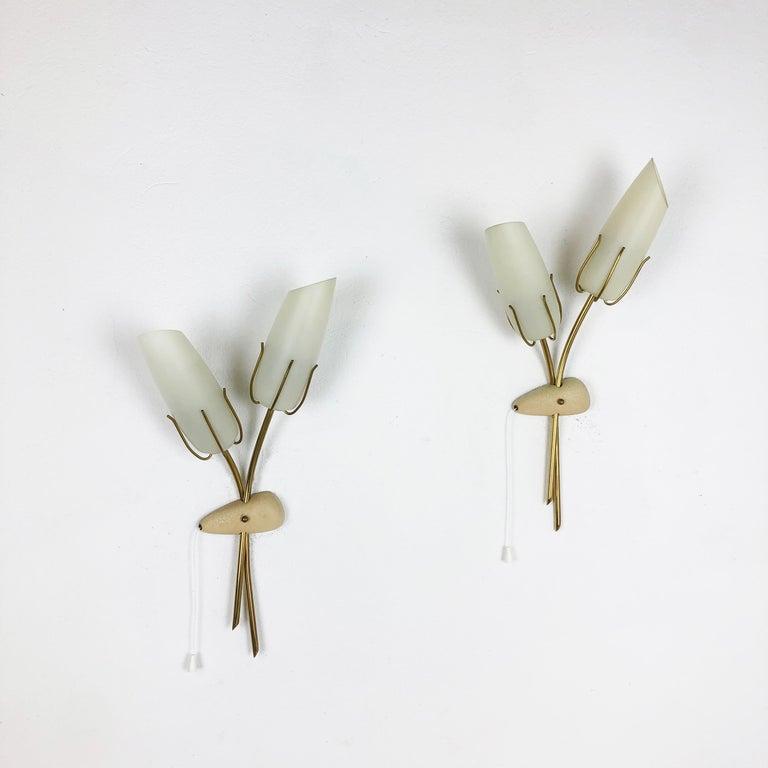 Set of Two Modernist 1960s Italian Stilnovo Style Metal Sconces Wall Lights 13