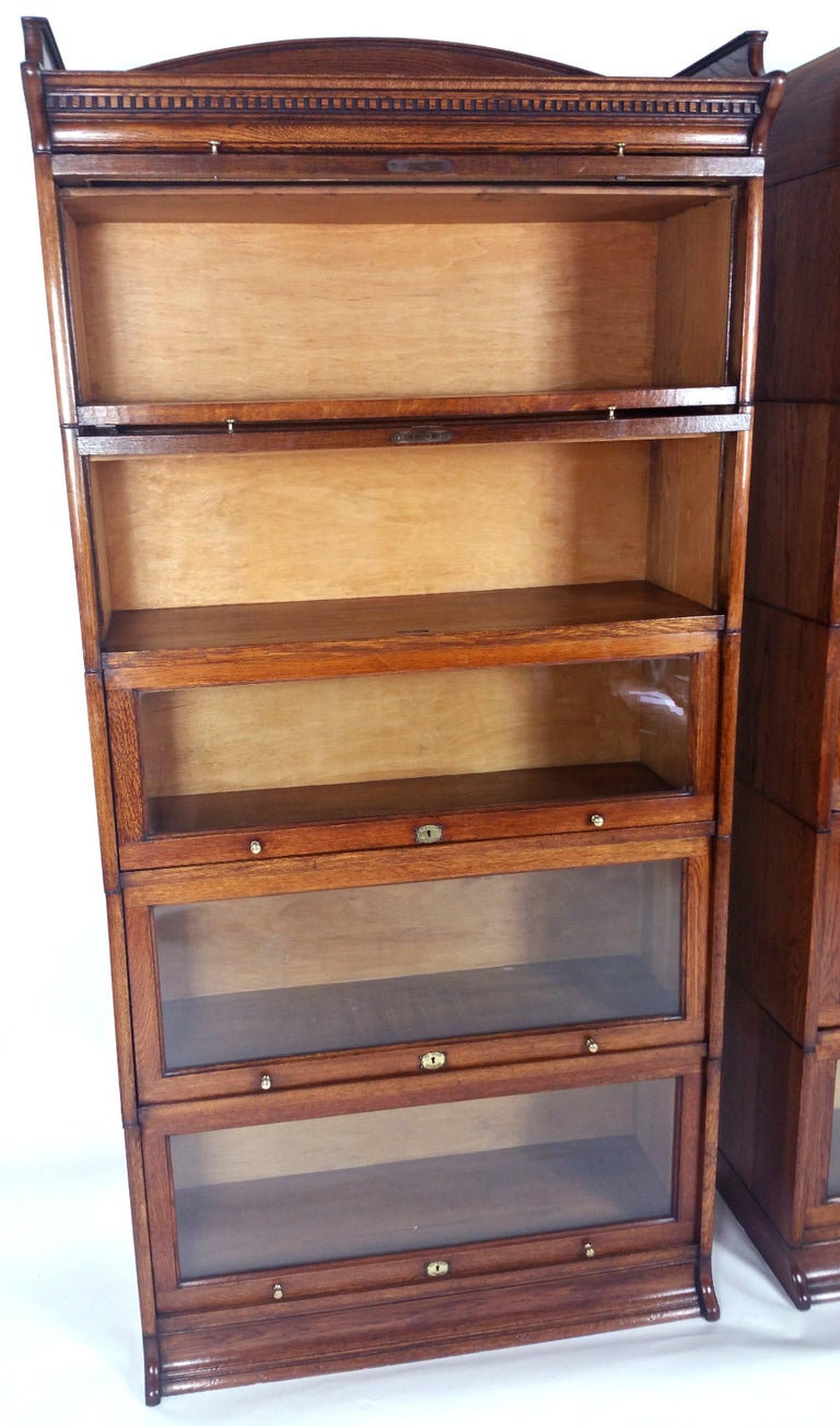 Fine Pair Of Edwardian Oak 5 Section Lebus Stacking Bookcases For Sale At 1stdibs