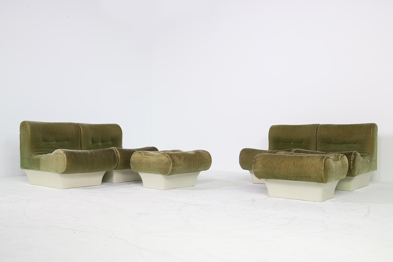 Vintage 1960s Otto Zapf Modular Sofa And Lounge Chair Living Room