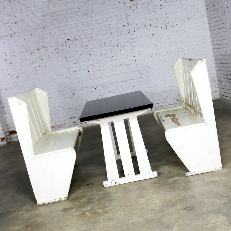 Brilliant Rustic Arts And Crafts Black And White Diner Booth Banquette Table And Benches Dailytribune Chair Design For Home Dailytribuneorg