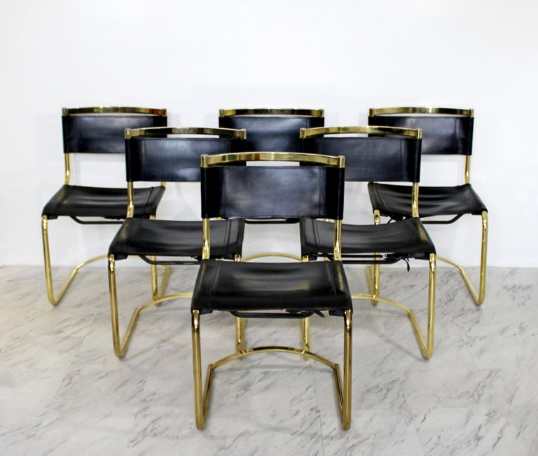 8f6ac84c6fb5 Mid-Century Modern 8 Brass Black Leather Side Dining Chairs Breuer Mies Era  For Sale. For your consideration is an incredible