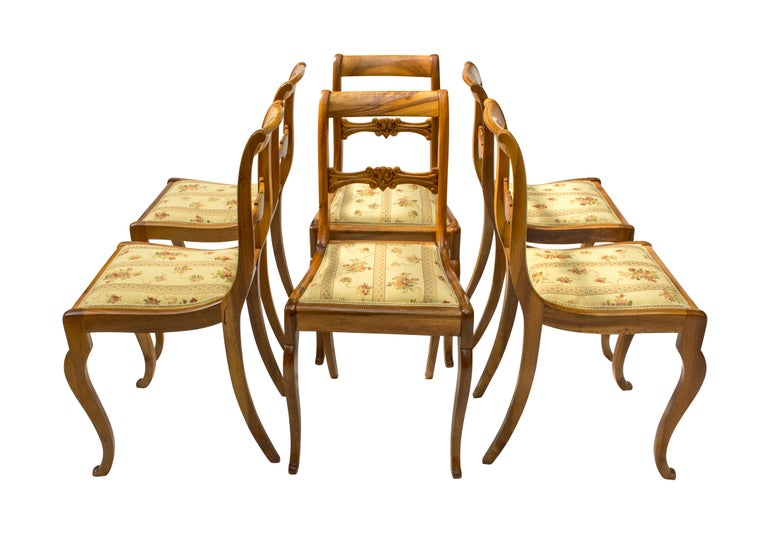 Set of six chairs, Biedermeier, solid walnut-wood. The chairs were new re-upholstered. In very good restored condition. Measure: Seat height 47 cm.