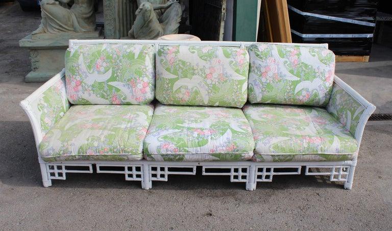 1980s Spanish bamboo three-seat sofa with original upholstery.