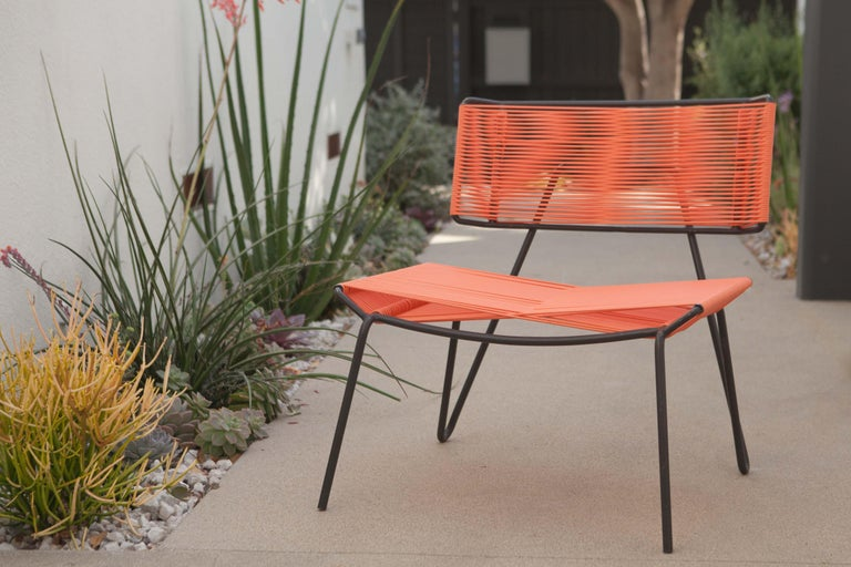 The Atacama outdoor chair, our own design for the perfect outdoor lounge chair, Mid-Century Modern inspired design, made in Guadalajara, Mexico, out of hand-forged powder-coated and galvanized steel with PVC tubing. These chairs will not only look