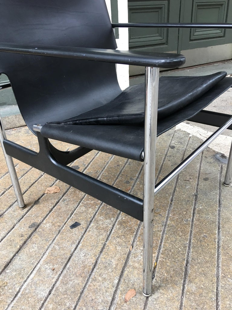Charles Pollack for Knoll International 657 black leather sling chair from 1964. Leather sling replaced thin cushion is original chrome excellent. Tag remains.