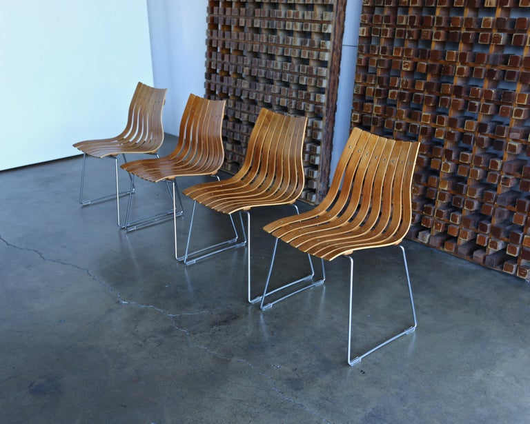 Hans Brattrud teak bentwood Scandia dining chairs for Hove Mobler, Norway.
