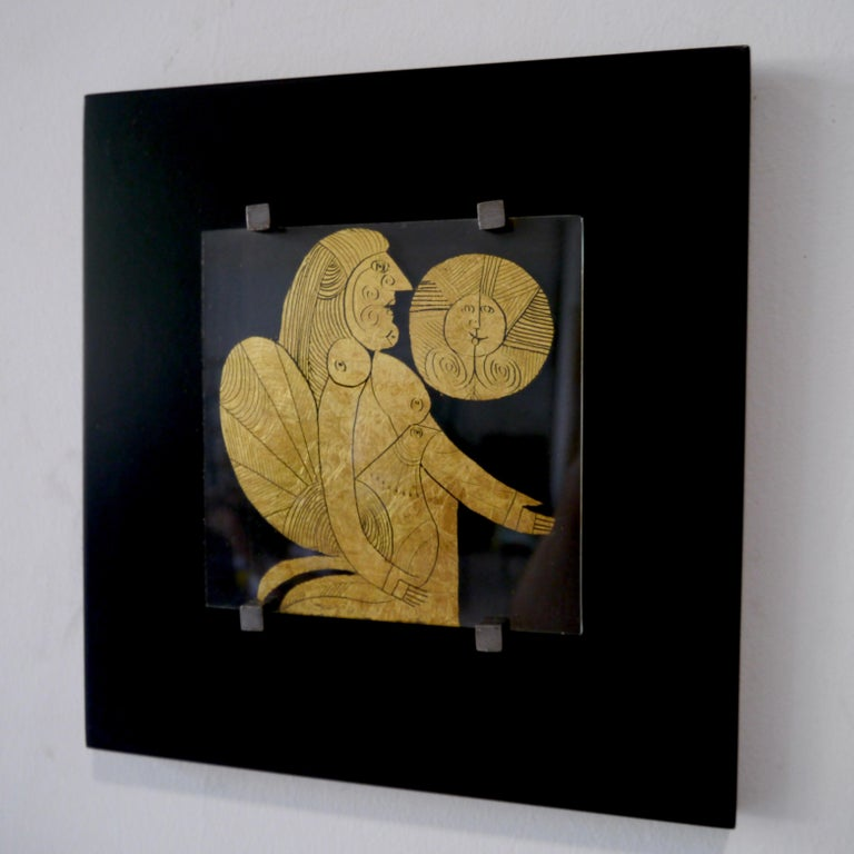Known for our expertise in Roger Capron's Artworks, we invite you to consult regularly our storefront on 1stdibs. Eglomerated glass plate on its original lacquered wooden frame. Roger Capron's talent as an illustrator takes on its full scope in