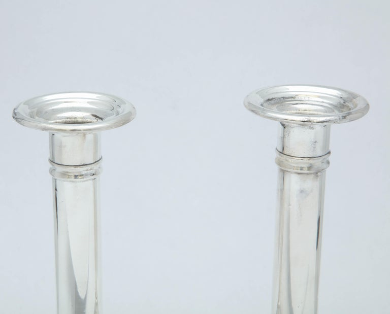 American Edwardian Pair of Sterling Silver Candlesticks For Sale