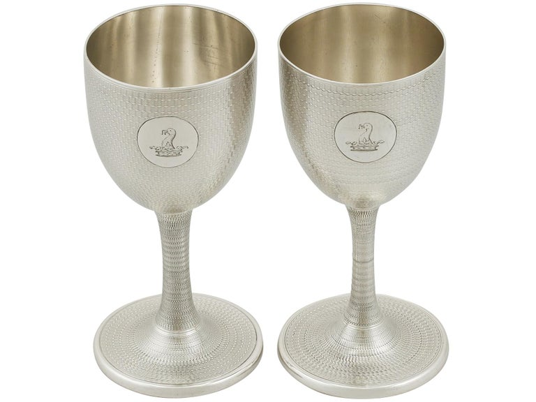 1869 Antique Victorian Sterling Silver Wine Goblets For Sale At 1stdibs