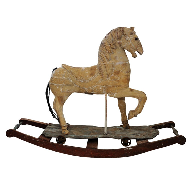 Hand-Painted French 19th Century Rocking or Trolley Horse, circa 1870 For Sale