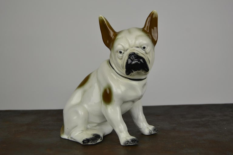 Art Nouveau Art Deco Sitzendorf Porcelain French Bulldog Figurine For Sale