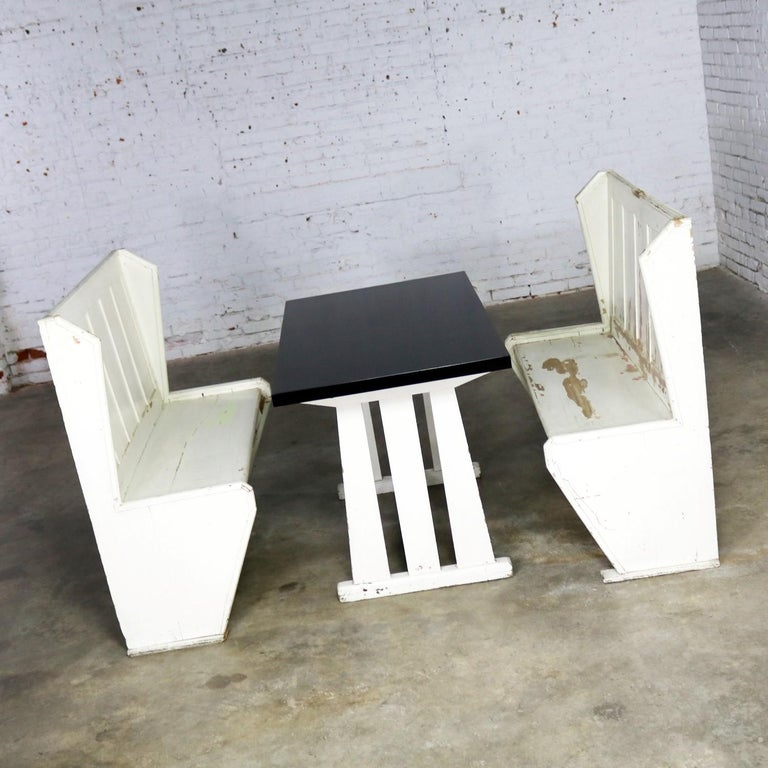 Miraculous Rustic Arts And Crafts Black And White Diner Booth Banquette Table And Benches Dailytribune Chair Design For Home Dailytribuneorg