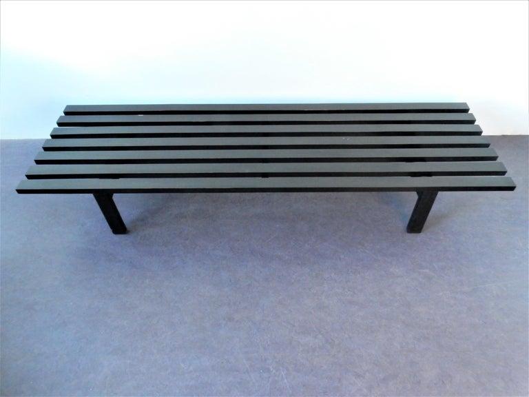 Mid-Century Modern Black BZ82 Slat Bench with Sliding Shelf by Martin Visser for 'T Spectrum, 1960s For Sale