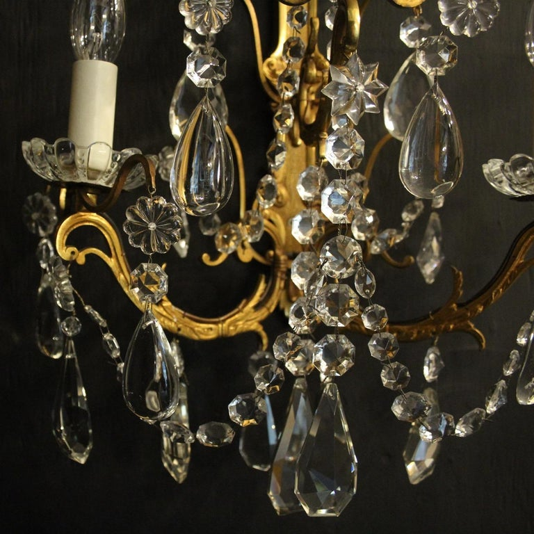 Rococo French Pair Of Gilded Bronze and Crystal Antique Wall Lights For Sale