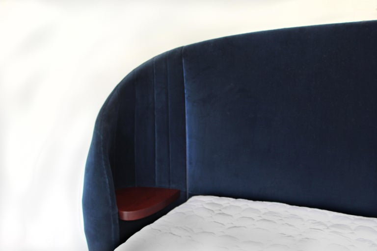 Minimalist Shell Headboard in Upholstered Fabric For Sale