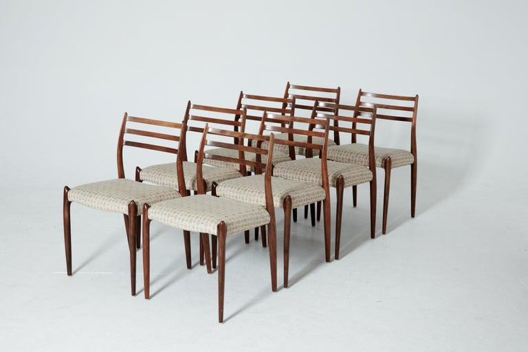 Mid-Century Modern Set of Eight Model 78 Rosewood Chairs by Niels O. Møller, Denmark, 1960s For Sale