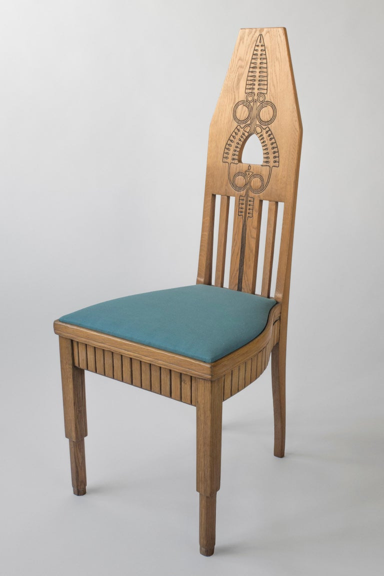 Art Nouveau Set of Finnish Intricately Carved High Back Oak Jugend Chairs, Six Available For Sale