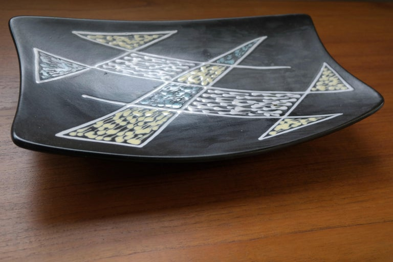 Scandinavian Modern 1950s Large Ceramic Plate by Holm Sorensen and Svend Aage Jensen for Soholm