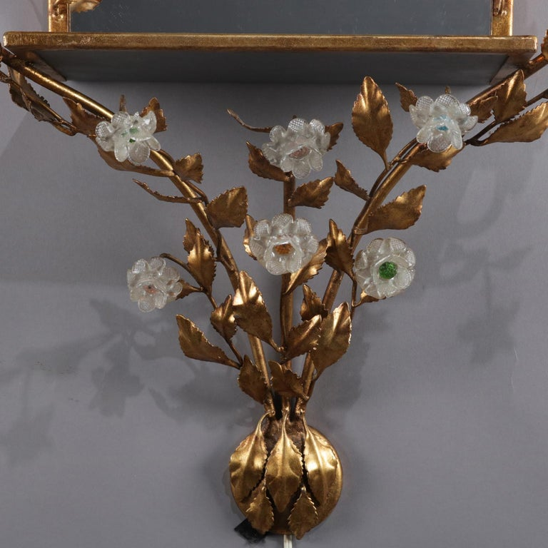 Cast Vintage Italian Gilt Foliate & Crystal Double Candle Light Sconce Display For Sale