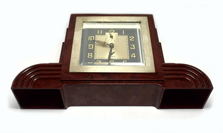 French Art Deco Bakelite Odeon Clock by Blangy For Sale