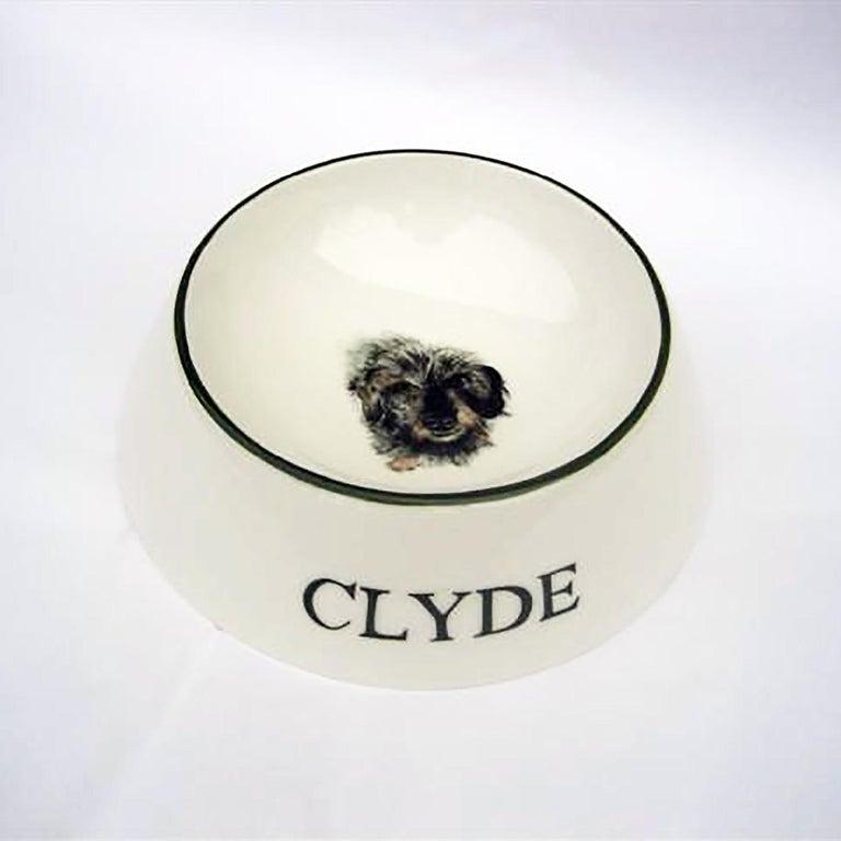 German Modern Dog Bowl Porcelain Handpainted Customized Sofina Boutique Kitzbuehel For Sale