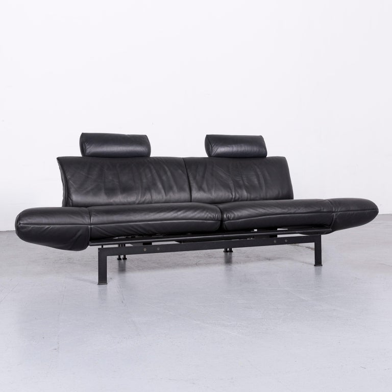 German De Sede Ds 140 Designer Leather Sofa Black Three-Seat Function Modern