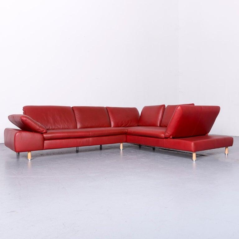 Willi Schillig Designer Leather Corner Sofa Red Corner-Couch For ...