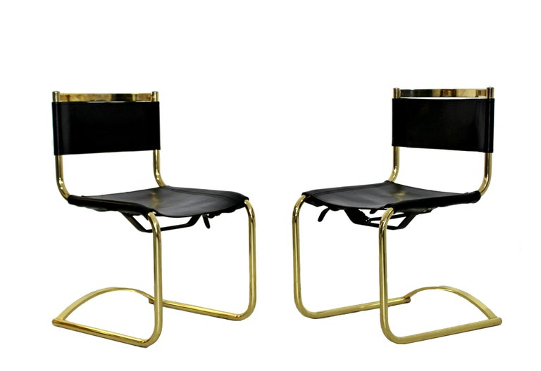 781c0a50b521 American Mid-Century Modern 8 Brass Black Leather Side Dining Chairs Breuer  Mies Era For