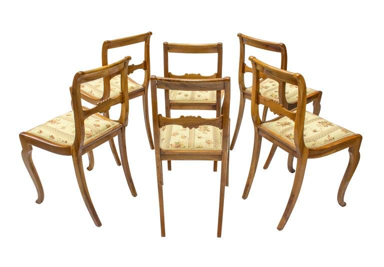 German 19th Century, Set of Six Solid Walnut Biedermeier Chairs For Sale