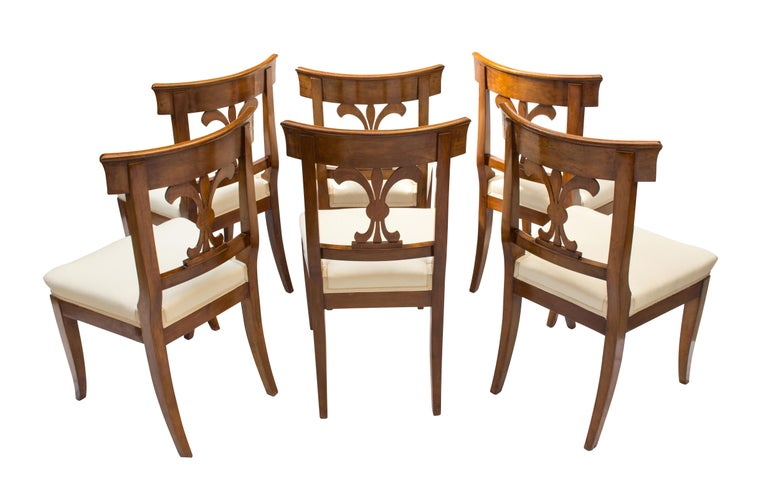 French 19th Century, Set of Six Solid Walnut Biedermeier Chairs For Sale