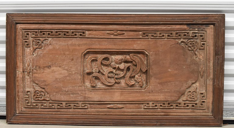 Hand-Carved Chinese Antique Solid Wood Carved Plaque with a Rose For Sale