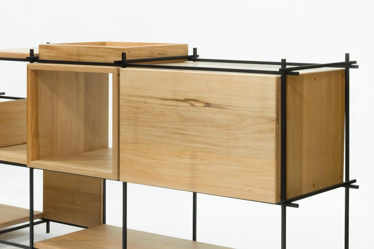 Sideboard in Hardwood and Steel, Brazilian Contemporary Design by O Formigueiro In New Condition For Sale In Rio de Janeiro, RJ
