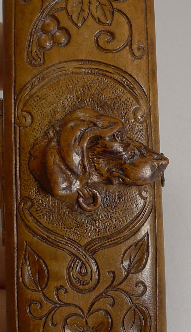 Swiss Rare Antique Black Forest Travel Thermometer Carved Dog, circa 1900 For Sale