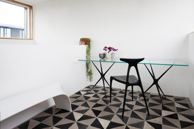 British Supernova, Recycled Cast Aluminum Black Trestles & Glass Desk by Made in Ratio For Sale